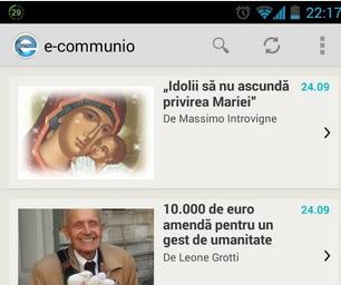 Lansarea aplicaţiei e-communio pentru Android