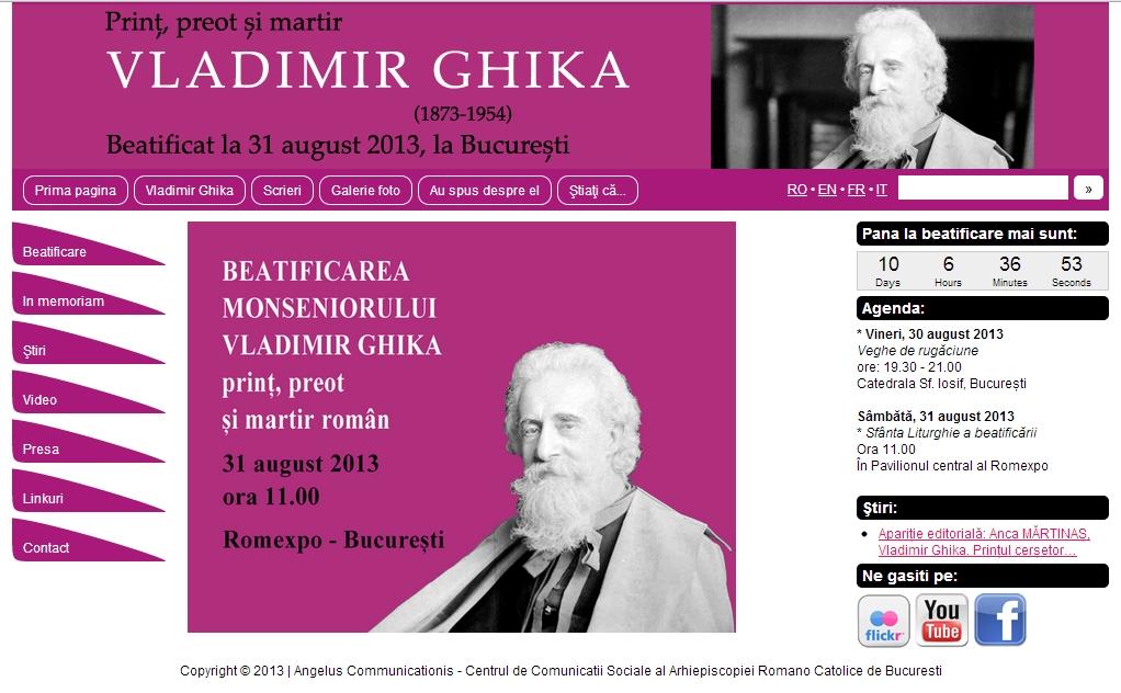 Un site dedicat beatificării monseniorului Vladimir Ghika
