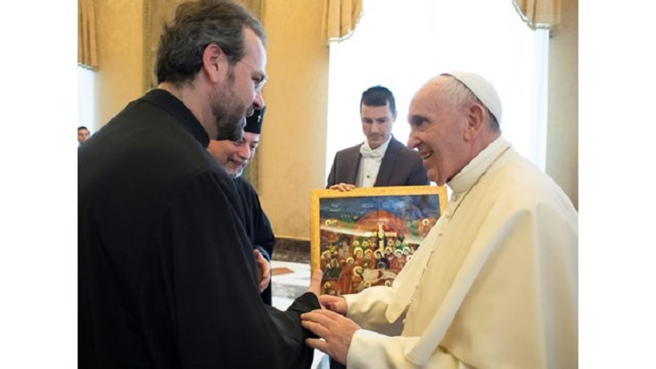"""Colegiului Pontifical """"Pio Romeno"""" din Roma în audiență la Papa Francisc"""
