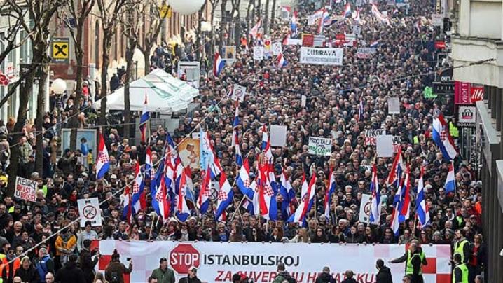 Zeci de mii de croați au manifestat la Zagreb împotriva Convenției de la Istanbul