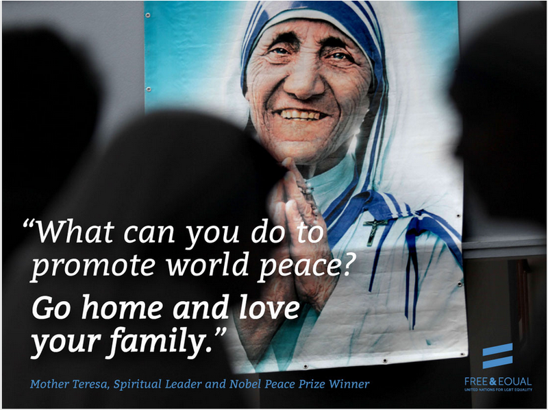 ONU folosește  o imagine cu Maica Tereza pentru propaganda LGBT