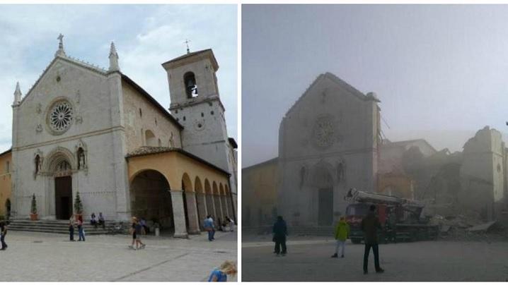 FOTO: Bazilica Sfântul Benedict din Norcia a fost grav afectată de cutremur