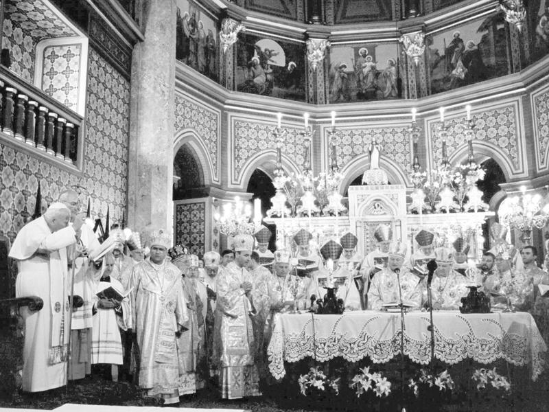 Memento. Ioan Paul al II-lea la Sf. Liturghie în ritul bizantin român din catedrala Sf. Iosif