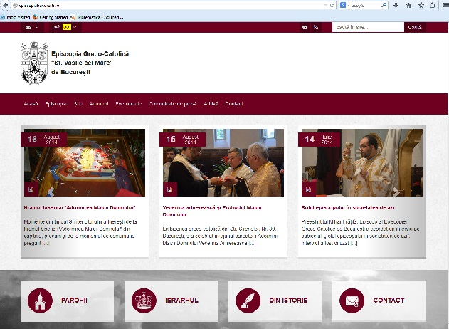 ANUNŢ: Noul site al Eparhiei greco-catolice de Bucureşti